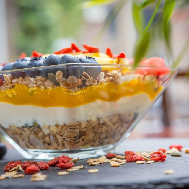 Granola topped with yoghurt and fresh fruits served in the Clayton Hotel Vitality Breakfast