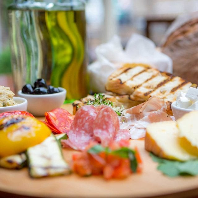 Mezze of cheese meats and breads served at Clayton Hotel