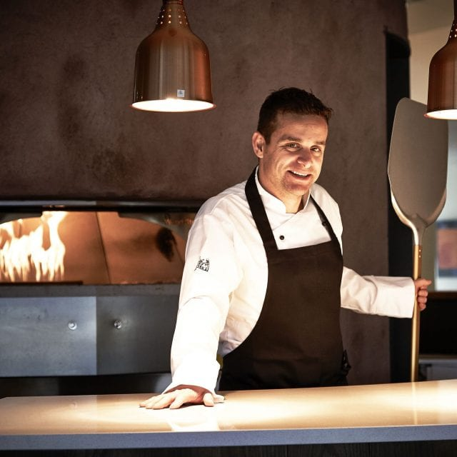 Pizza chef at Gusto Restaurant, in Clayton Hotel Liffey Valley