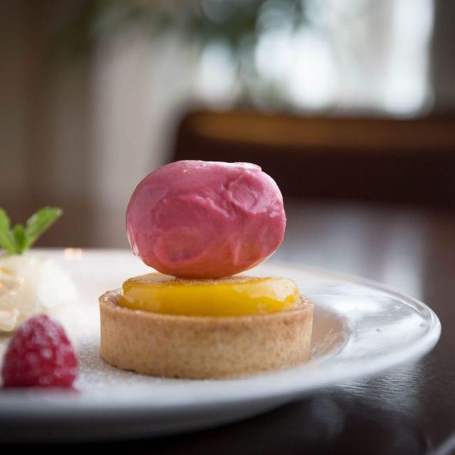 Lemon dessert served in the Globe Restaurant