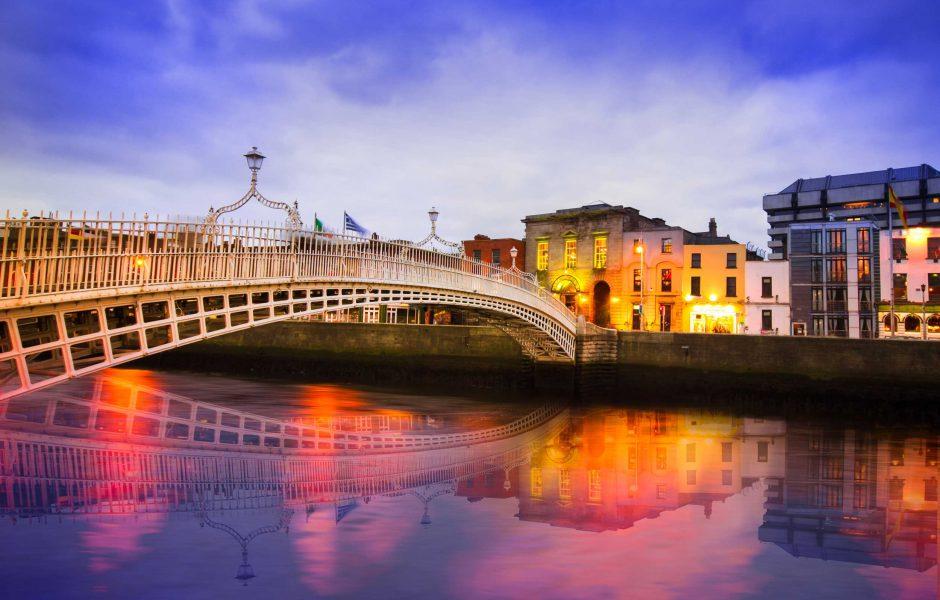 Hapenny Bridge over River Liffey in Dublin