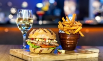 B Bar at Clayton Hotel Burlington Road chicken burger and glass wine